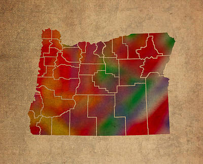Old Mixed Media - Counties Of Oregon Colorful Vibrant Watercolor State Map On Old Canvas by Design Turnpike