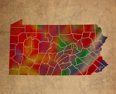 Counties Of Pennsylvania Colorful Vibrant Watercolor State Map On Old Canvas Art Print by Design Turnpike