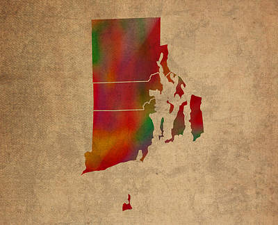 Counties Of Rhode Island Colorful Vibrant Watercolor State Map On Old Canvas Art Print by Design Turnpike