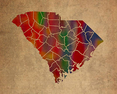 Colorful Mixed Media - Counties Of South Carolina Colorful Vibrant Watercolor State Map On Old Canvas by Design Turnpike