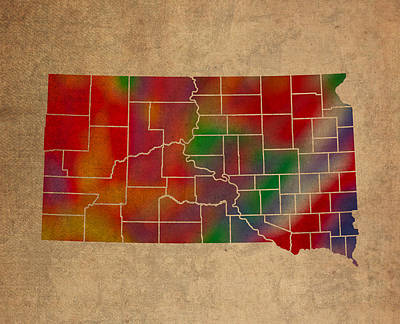 South Dakota Map Mixed Media - Counties Of South Dakota Colorful Vibrant Watercolor State Map On Old Canvas by Design Turnpike