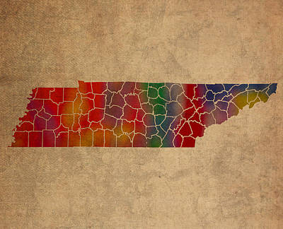 Tennessee Mixed Media - Counties Of Tennessee Colorful Vibrant Watercolor State Map On Old Canvas by Design Turnpike