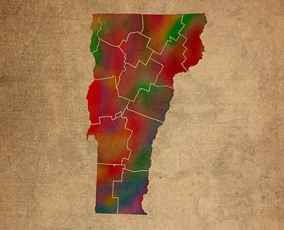 Vermont Mixed Media - Counties Of Vermont Colorful Vibrant Watercolor State Map On Old Canvas by Design Turnpike