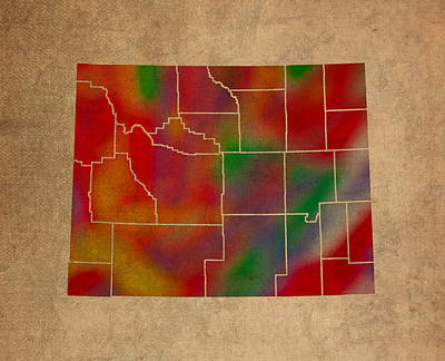 Wyoming Mixed Media - Counties Of Wyoming Colorful Vibrant Watercolor State Map On Old Canvas by Design Turnpike