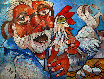 High Key Painting - Counting Chickens by Charlie Spear