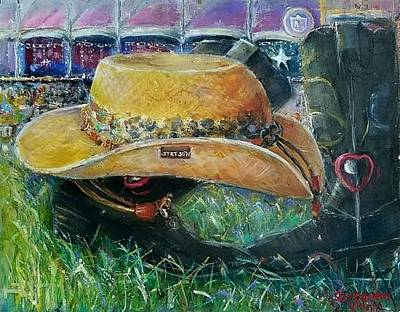 Painting - Country Boots And Stetson Hat by Bernadette Krupa
