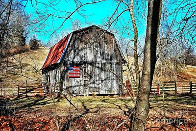 Wood Pallet Flag Photograph - Country Barn by John Myers