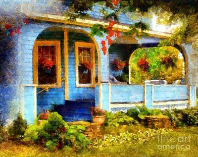 Photograph - Country Blue Autumn Porch by Janine Riley