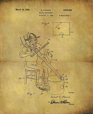Musicians Drawings - Country Bluegrass Music Instrument Patent by Dan Sproul