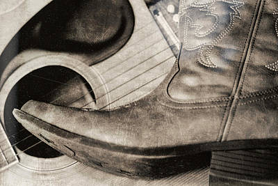 Photograph - Country Boot Acoustic Guitar Americana by Dan Sproul