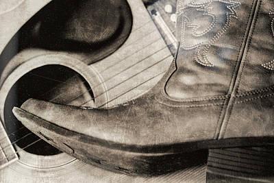 Country Boot Acoustic Guitar Americana Art Print by Dan Sproul
