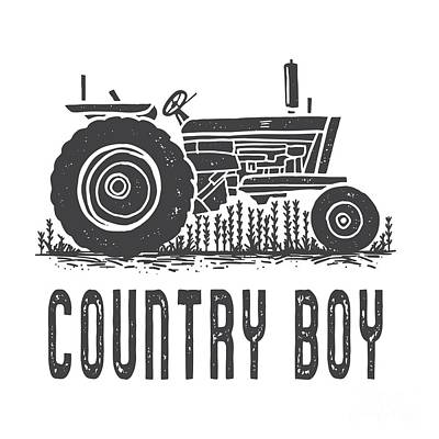 Digital Art - Country Boy Tractor Tee by Edward Fielding