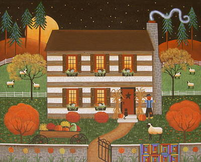 Pumpkins Painting - Country Cabin by Mary Charles