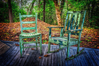 Back Porch Photograph - Country Chairs by Debra and Dave Vanderlaan