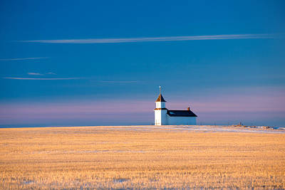Wheat Field Sky Photograph - Country Chapel by Todd Klassy