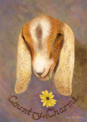 Country Fair Painting - Country Charms Nubian Goat With Daisy by Nancy Lee Moran