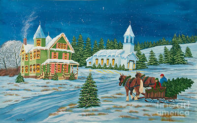 Winter Night Painting - Country Christmas by Charlotte Blanchard