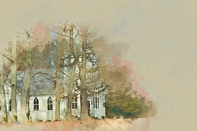 Digital Art - Country Church - Gordonsville Va by Paulette B Wright