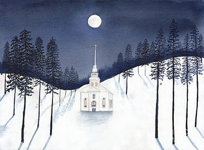 Painting - Country Church In Moonlight 2, Silent Night by Conni Schaftenaar
