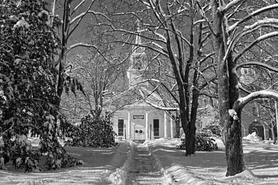 Country Church In Winter Maine Bandw Photo Art Print by Keith Webber Jr
