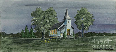 New York Painter Painting - Country Church On A Summer Night by Charlotte Blanchard