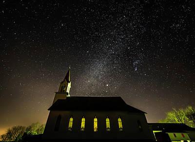 American West - Country Church Under the Stars by Willard Sharp