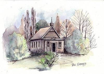 Country Church Art Print by Val Stokes