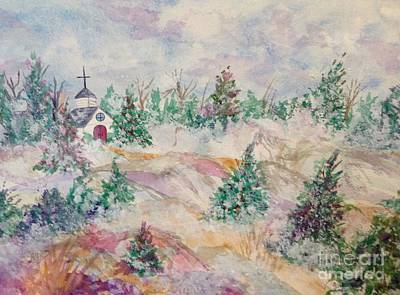 Painting - Country Church Winter by Ellen Levinson