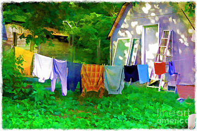 Photograph - Country Clothes Line - Digital Paint 1 by Debbie Portwood