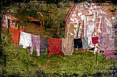 Photograph - Country Clothes Line  - Digital Paint 5 by Debbie Portwood