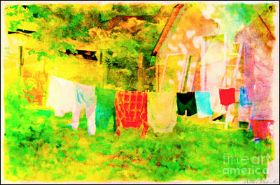 Photograph - Country Clothes Line  - Digital Paint 6 by Debbie Portwood