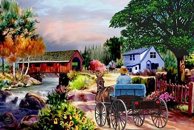 Horse And Buggy Painting - Country Covered Bridge V2 by Ron Chambers