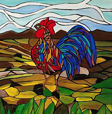 Stained Glass Rooster Painting - Country Crier by Rachel Olynuk