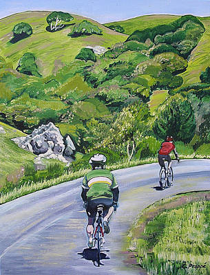 Country Cyclists Art Print by Colleen Proppe