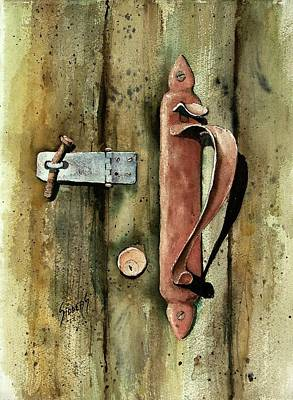 Painting - Country Door Lock by Sam Sidders