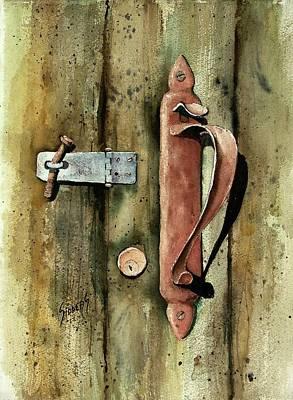Locks Painting - Country Door Lock by Sam Sidders