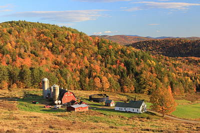 Photograph - Country Farm In Autumn Barnet Vermont by John Burk