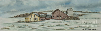 Barn Poster Painting - Country Farm In Winter by Charlotte Blanchard