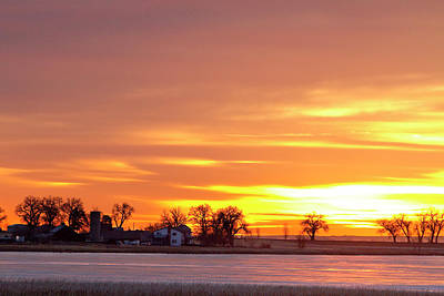 Red Photograph - Country Farm Union Reservoir Colorful Sunrise Longmont Colorado by James BO  Insogna