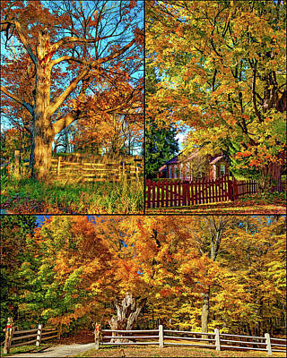 One Room School Houses Photograph - Country Fences Collage - Paint by Steve Harrington
