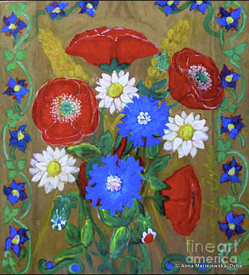 Folkartanna Painting - Country Flowers by Anna Folkartanna Maciejewska-Dyba