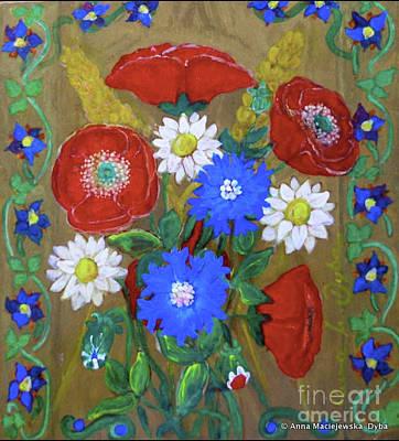 Polish American Painters Painting - Country Flowers by Anna Folkartanna Maciejewska-Dyba