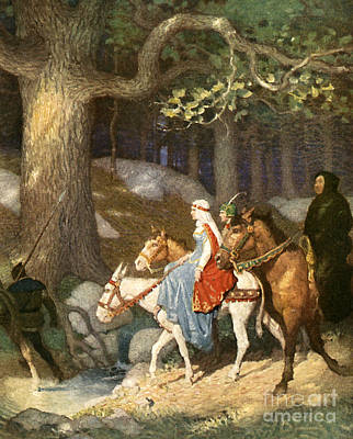 Donkey Drawing - Country Folk Wending Their Way To The Tourney by Newell Convers Wyeth