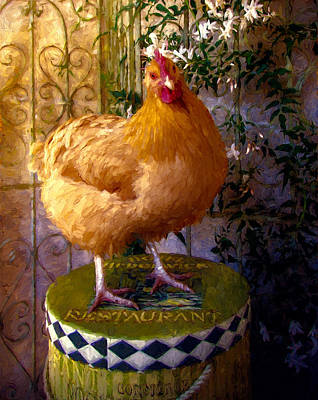 Country French Hen Art Print by John K Woodruff