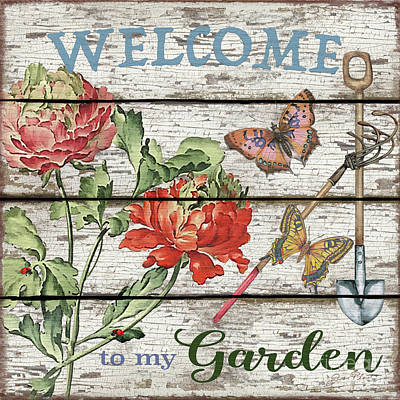Painting - Country Garden Sign-b by Jean Plout