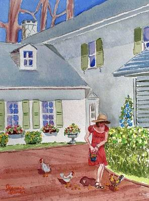 Country Girl In The Backyard At Swan Harbor Farm Original by Jeannie Allerton