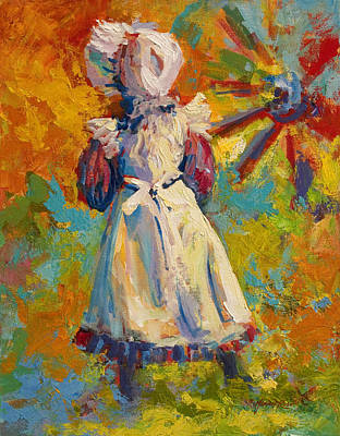 Wagon Wheels Painting - Country Girl by Marion Rose