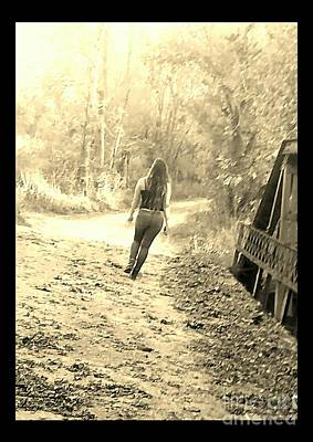 Southern Indiana Digital Art - Country Girl Walking - Sepia With Border by Scott D Van Osdol