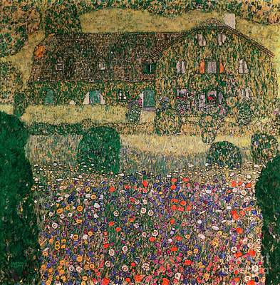 Expressionist Art Painting - Country House By The Attersee by Gustav Klimt