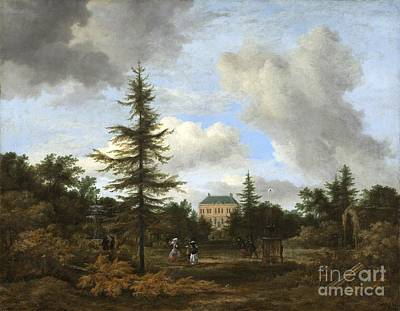 Park Scene Painting - Country House In A Park by Celestial Images